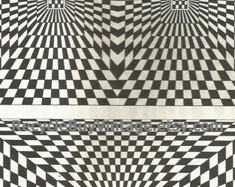 vintage 1970's optic illusion pattern art print book plate black & white pop art design retro home decor mod geometric picture wall 51 52