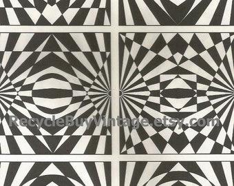 vintage 1970's optic illusion pattern art print book plate black & white pop art design retro home decor mod geometric picture wall 85 86