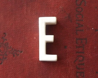 vintage 1930's white ceramic capital letter E small tiny little old antique porcelain decorative home decor retro personalized name initial