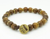 Mens brown robles wooden beaded leather bracelet with brass button - can be personalised