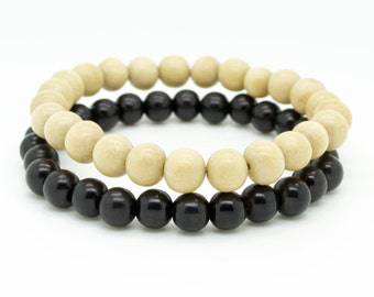 Mens natural and black double pack wooden beaded stretch bracelets