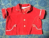 60s Red Velvet Western Style Button Up, Baby Size 3-6 Months