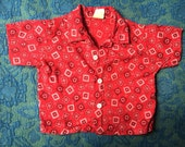 60s Classic Americana Western Cowgirl / Cowboy Handkerchief Button-Up Shirt, Kid's Size 2T