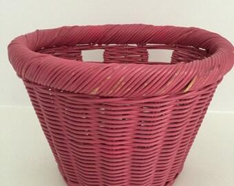 Vintage Petite Pink Wicker Bicycle Basket