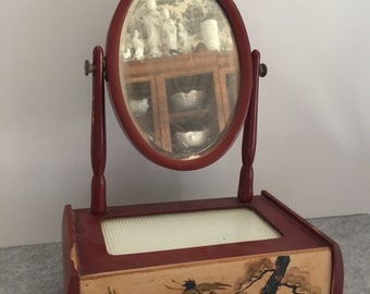 Vintage Japanese Lacquer Kyodai Tansu Mirrored Vanity