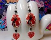 Queen of Hearts Scalloped Dangle Earrings