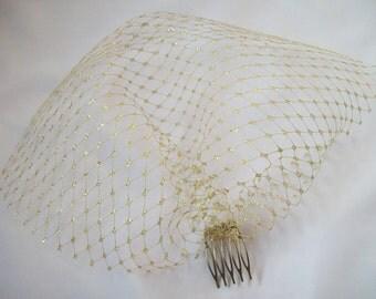 Metallic Gold Short Birdcage Blusher Veil - Wedding Party Art Deco Vintage Style - Made to Order
