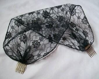 Black Lace Vintage Gothic Birdcage Bandeau Brides Wedding Bridal Veil Head Scarf - Made to Order