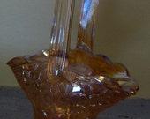 Gold Marigold Glass Bride's Basket Small Basket Fenton Style Crackle Glass Vintage Glass Basket