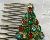 Vintage Christmas Tree Rhinestone Hair Comb Bridesmaid Wedding Art Deco Gold Doodaba