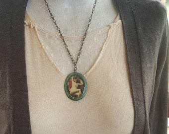 Vintage Nude Flapper Necklace I