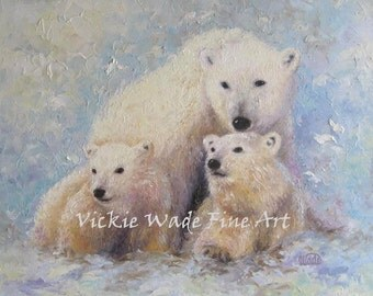 Mother Bear and Cubs Original Oil Painting 20X20, polar bear original painting, wildlife painting, palette knife wall art, Vickie Wade art