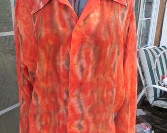 70s Mens Pla Shirt by Dunbrooke permentant press HIPPIE Disco colorful tye dye look shirt  sz large 16-16 1/2 new condition