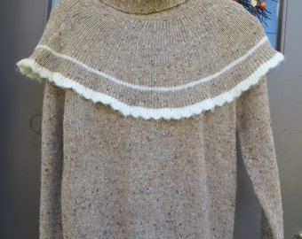 retro 80s brown variegated cape collar sweater acrylic wool   sz large  by Cheval