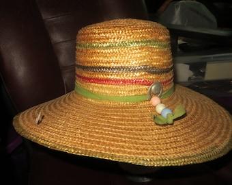 vintage STRAW Hat,  womens  Summer  wide brim