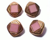 Pink and Gold Vintage Glass Buttons 17mm Set 4 Sewing Buttons Embellishments