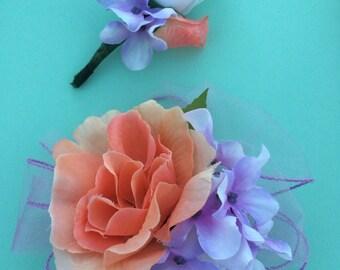 Boutonniere Wrist Corsage Set Light Purple Lavender Coral Peach Orange White Rose Silk Handmade Formal Prom Wedding Ceremony Pict