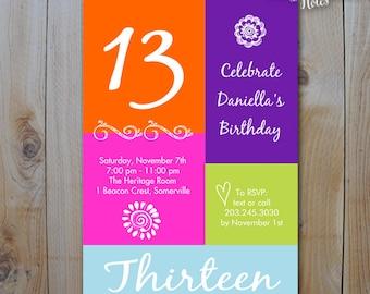 13TH Birthday Invitation / Girls Color Block Birthday / Birthday Bling Birthday / 13 16 / Invitation / PRINTABLE INVITATION / 10534