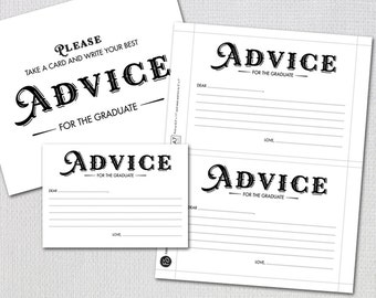 Graduation Advice Cards / Advice for the Graduate / Instant Download / Card and Sign  PRINTABLE / #329