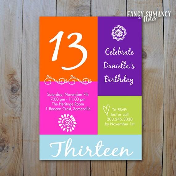 13TH Birthday Invitation Girls Color Block