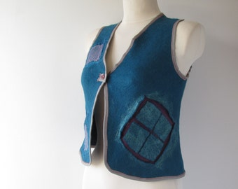 Felted vest  wool vest Small size vest seamless turquoise blue grid by Galafilc
