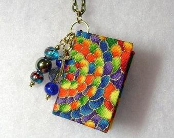 Teacher Gift - Handmade Book Necklace - Book Jewelry - Book Pendant - Book Journal - Handmade Book - Rainbow Fabric - BN-111