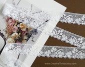 """3 3/4 Yards, English Vintage Heirloom Lace, Delicate Cotton Lace, Shamrock Lace Trim, Bridal Lingerie Doll Lace, 7/8"""" Wide, White - N96"""
