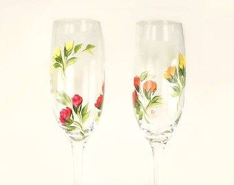 Hand-Painted Champagne Glasses, Set of 2 - Colorful Roses in Red Orange Peach Yellow - Fall Autumn Stemware Wedding Host Gift Ideas