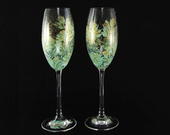 Personalized Hand Painted Champagne Glasses - Mint Green Gold Roses Set of 4 - Custom 50th Anniversary Gift Idea Wedding Wine Glasses