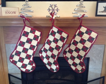 Quilted Four Patch Traditional Red Green Christmas Stocking