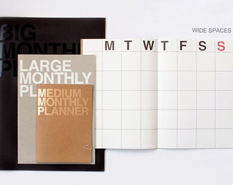 New Monthly planner -Large size -Light gray