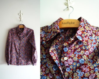 70s Long Sleeve Blouse Floral Print Button Down Front