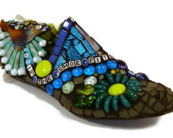 MOSAIC -- personalized gift -- OOAK mosaic  shoe last, custom made with your choice of colors and words TAGT blue green turquoise JillsJoy