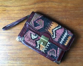70s KILIM Leather Clutch • Rare Kilim Woven Bag • Made in Turkey