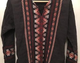 Vintage Worn Black Embroidered Tunic •  Vintage Cotton  Top • Bohemian Top • Black Cotton Tunic • Small to Medium