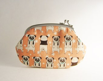Frame Purse Wallet Side Lock Pouch - Pug in Pink