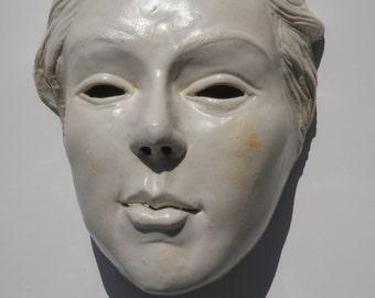 Wall Mask of Venus, Porcelain Portrait Goddess Art After Botticelli, Figure Sculpture Face Glaze White