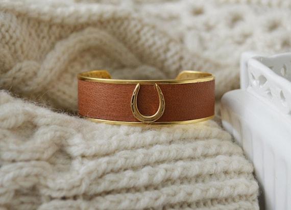 Women's Leather Equestrian Cuff Bracelet - Elegant Style