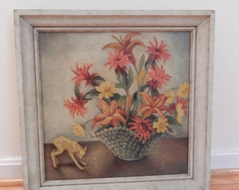 Midcentury Still Life Original Painting Oil on Canvas Signed Striking Floral Burnished Palette Saint Agnes Miniature Lamb Symbolism