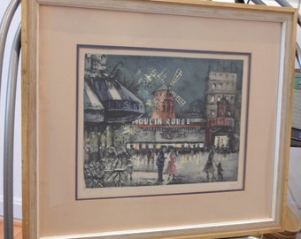 Midcentury  Moulin Rouge Etching Paris Street Scene Eau Forte Originale Pencil Signed Grey
