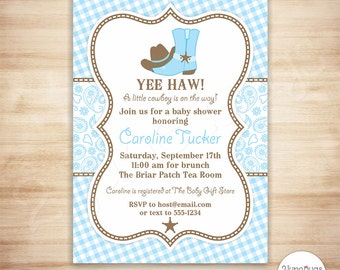 Cowboy Baby Shower Invitation - Country Western Baby Boy Shower - Light Blue and Brown Paisley and Gingham - EDiTABLE PDF - INSTANT DOWNLOAD