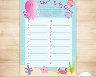 Pink Under the Sea ABC's Baby Shower Game - Sea Creatures Baby ABC Game - Under the Sea Girl Baby Shower - PRiNTABLE, INSTANT DOWNlOAD