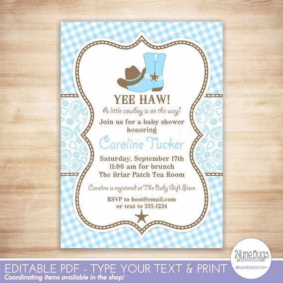 Cowboy Baby Shower Invitation Country Western Baby Boy Shower