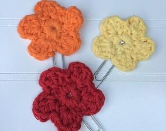 Crochet Flower Clippies - Planner Clips, Bookmarks - Sunrise - Set of 3