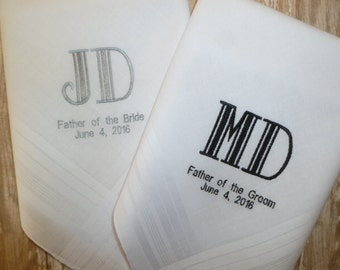 2 MONOGRAM Handkerchief Gifts Father of the Bride Father of the Groom Custom Personalized Wedding Embroidered Hankerchief