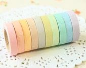 10pc MINI set Pastel Colours Washi Paper Tape japanese masking tape