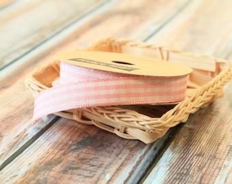 SALMON Pink GINGHAM woven ribbon reel 3m spool