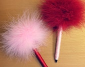 Clueless Valentine Feather Pen - Marabou Feathers - Red and Pink - Refillable Ink - Valentine's Day