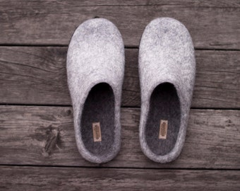 Grey felted wool slippers for women or man with rubber soles, eco friendly woolen clogs for home, perfect birthday gift