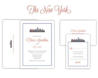 "City Theme Wedding Invitation ""The New York""-- (20 Invites, RSVP Cards, Envelopes)"